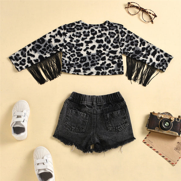 Girls Leopard Tassel Long Sleeve Top & Ripped Denim Shorts Wholesale