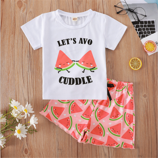 Girls Let's Avo Cuddle Pattern Watermelon Printed Short Sleeve Top & Shorts wholesale childrens clothing online