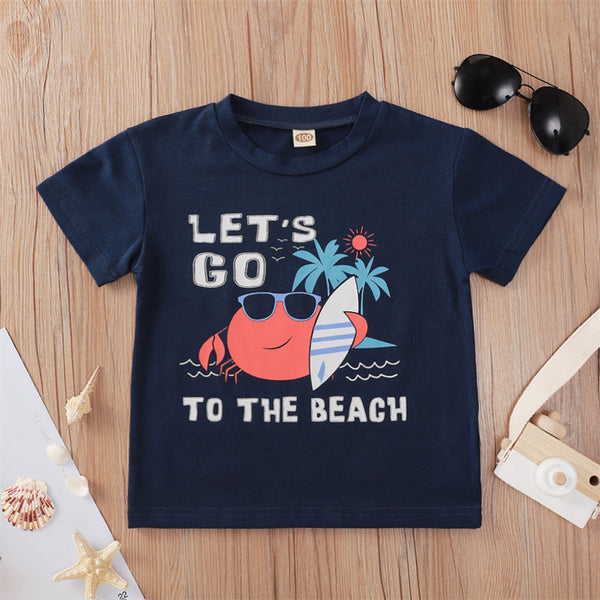 Boys Let's Go To The Beach Crab Printed Short Sleeve Top kids wholesale vendors