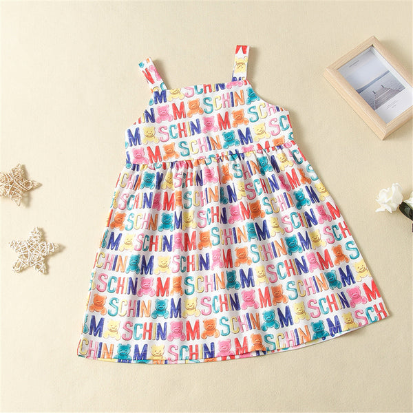 Girls Letter Animal Printed Suspender Dress Girls Boutique Clothes Wholesale