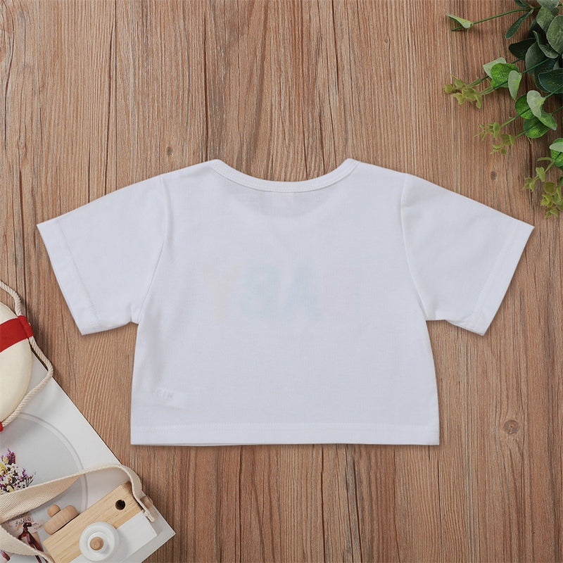 Girls Letter Baby Printed Short Sleeve Top Wholesale Boutique Girl Clothing