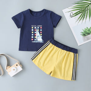 Boys Letter Boat Graphic Tee & Track Shorts
