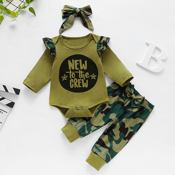 Baby Girls Letter Camo Printed Romper & Pants Baby Clothes Cheap Wholesale