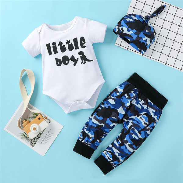 Baby Boys Letter Cartoon Camo Short Sleeve Romper & Pants & Hat wholesale baby clothes usa