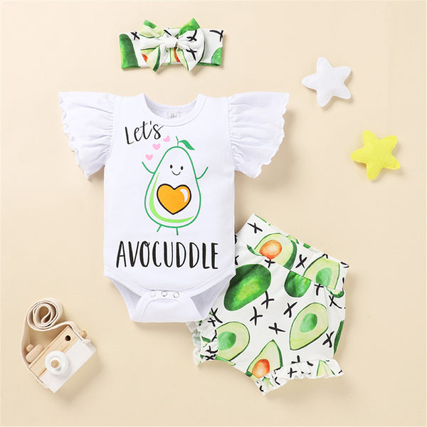 Baby Girls Letter Cartoon Fruit Sunflower Printed Short Sleeve Romper & Shorts & Headband Baby Clothes Cheap Wholesale