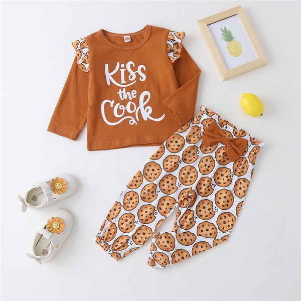 Baby Girls Letter Cartoon Printed Long Sleeve Top & Pants Wholesale Baby