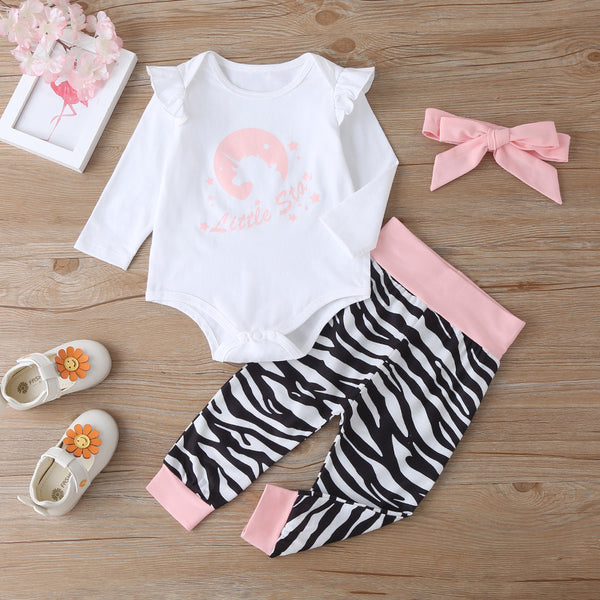 Baby Girls Letter Cartoon Printed Romper & Pants & Headband Baby Wholesale