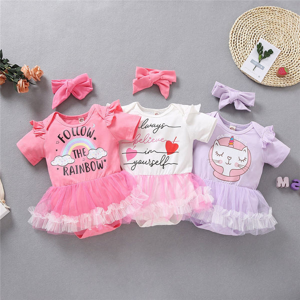 Baby Girls Letter Cartoon Printed Short Sleeve Mesh Ruffled Romper & Headband Wholesale Baby Clothes