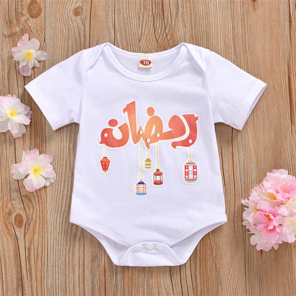 Baby Unisex Letter Cartoon Printed Short Sleeve Romper baby clothes wholesale distributors