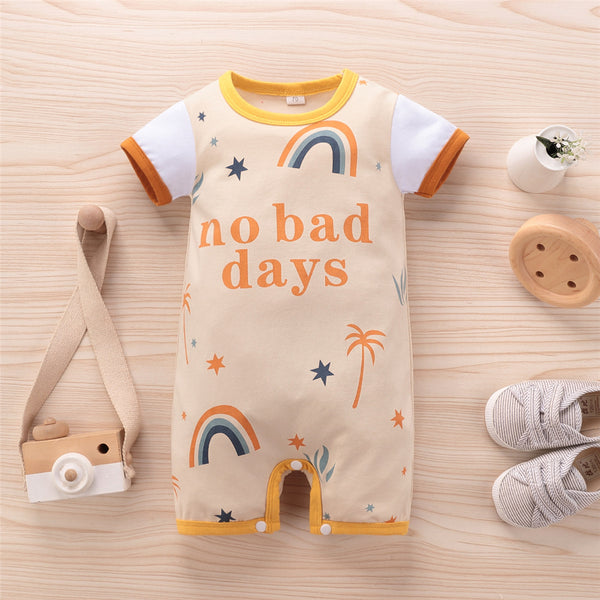 Baby Unisex Letter Cartoon Printed Short Sleeve Romper cheap baby boutique clothing