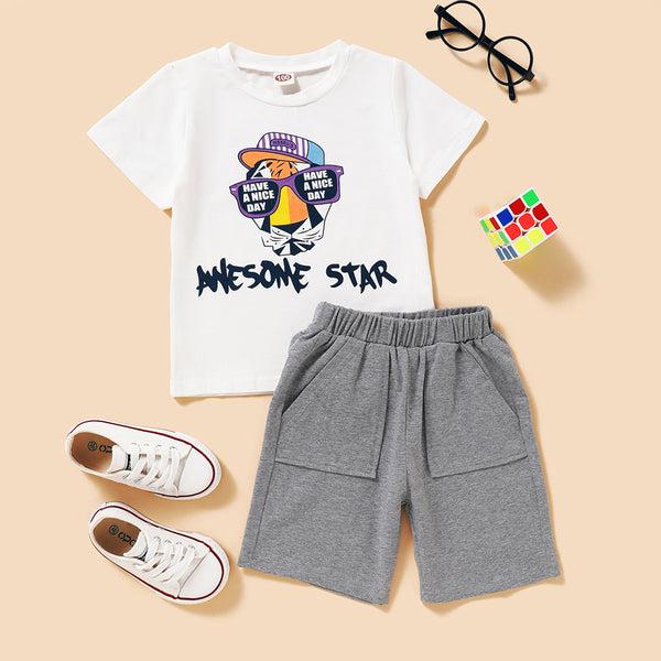 Boys Letter Cartoon Printed Short Sleeve T-shirt & Gray Shorts Little Boys Wholesale Clothing
