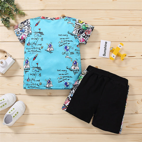 Boys Letter Cartoon Printed Short Sleeve Top & Shorts wholesale childrens clothing online