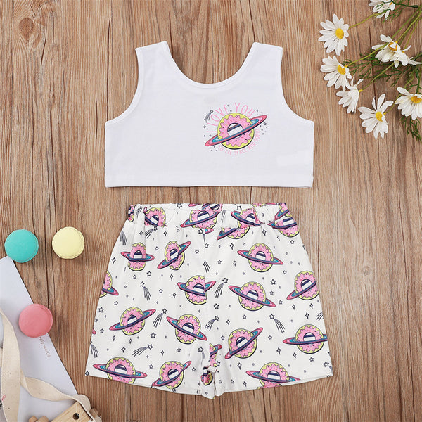 Girls Letter Cartoon Printed Top & Shorts bulk baby clothes