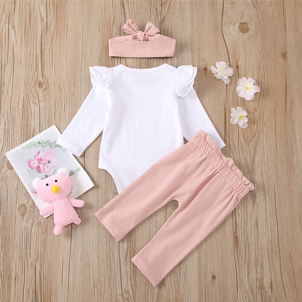 Baby Girls Letter Casual Romper & Pants & Headband Wholesale Kidswear