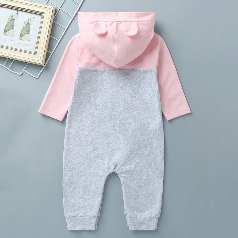 Baby Letter Color Contrast Hooded Jumpsuit