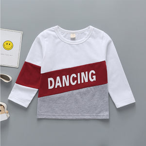 Boys Letter Color Contrast Long Sleeve T-shirt