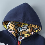 Boys Letter Contrast Animals Print Hoodie Jacket