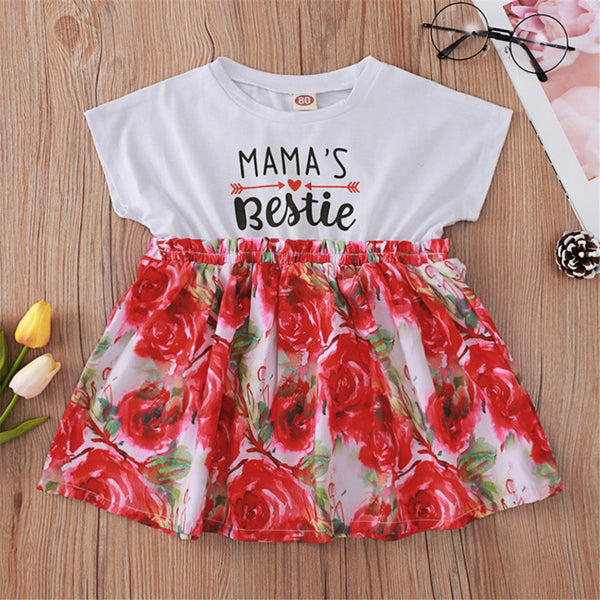 Baby Girls Letter Floral Printed Short Sleeve Dress Baby Summer Dress