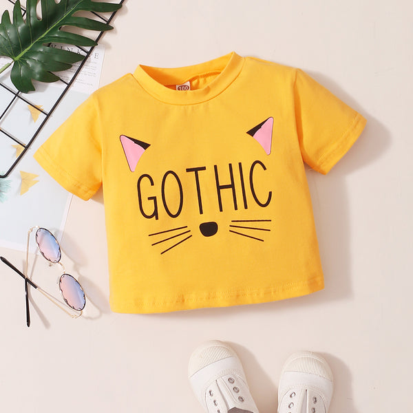 Girls Letter Gothic Cat Cartoon Printed Short Sleeve Top Wholesale Kids Clothing Distributors
