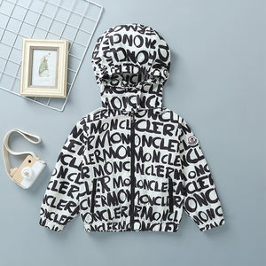 Boys Casual Letter Graphic Print Zipper Jacket With Hat