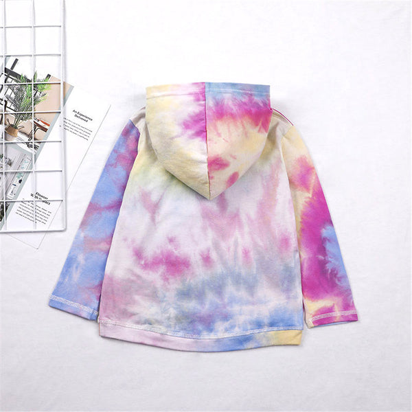 Unisex Letter Hooded Tie Dye Casual Jumper Girls Clothing Wholesale
