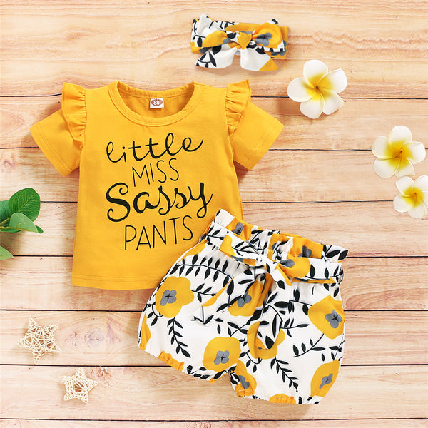 Baby Girls Letter Little Printed Short Sleeve Top & Floral Shorts & Headband Baby Boutique Wholesale