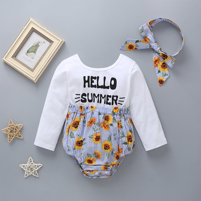Baby Girls Letter Long Sleeve Sunflower Stripe Paper Bag Waist Bodysuit & Headband