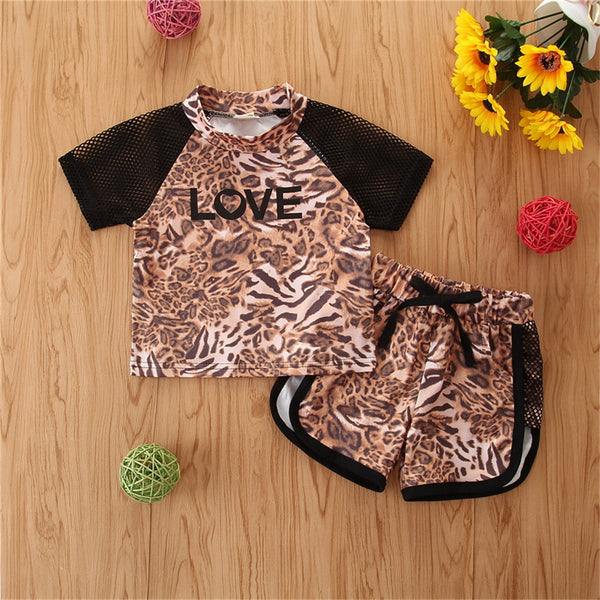 Girls Letter Love Printed Short Sleeve Leopard Top & Shorts Kids Boutique Wholesale