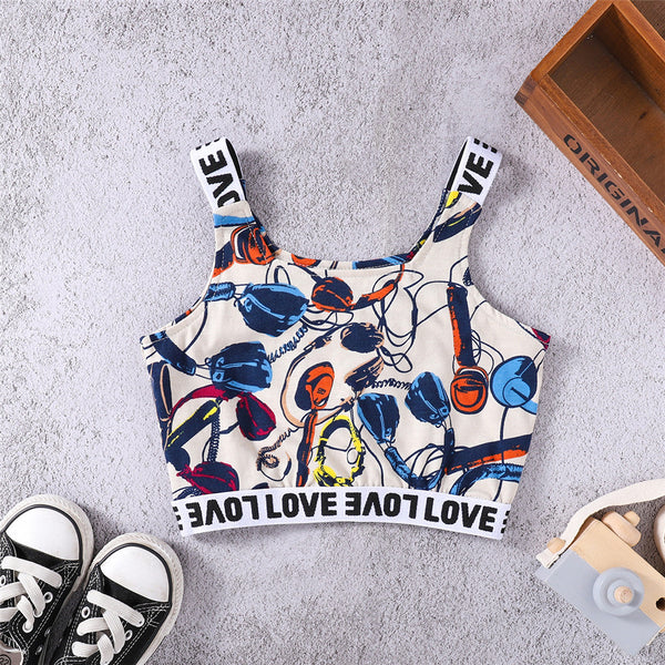 Girls Letter Love Printed Sport Sling Top wholesale childrens clothing
