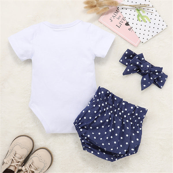 Baby Girl Letter Mama Is My Bestie Short Sleeve Romper Polka Dot Shorts Headband Baby Outfits