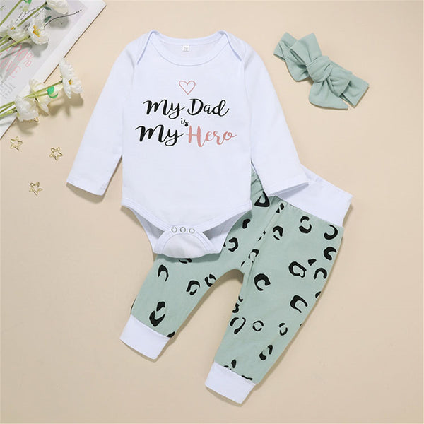 Baby Girls Letter My Dad Is Hero Long Sleeve & Pants & Headband Cheap Baby Clothes In Bulk
