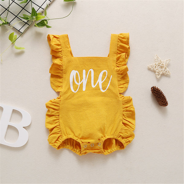 Baby Girls Letter One Printed Sleeveless Summer Romper Wholesale Baby Cloths