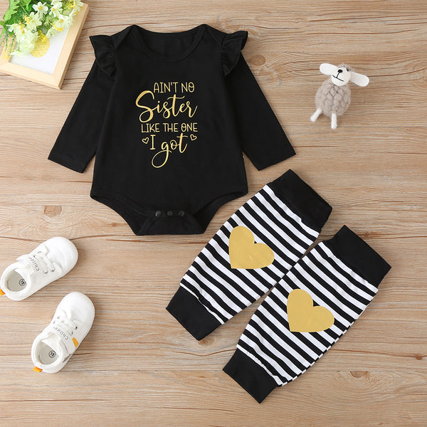 Baby Girls Letter Print Long Sleeve Romper & Striped Sock Wholesale Baby
