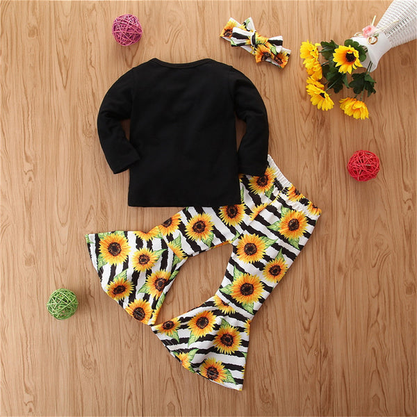 Girls Letter Long Sleeve & Sunflower Bell Trousers Baby Girl Wholesale