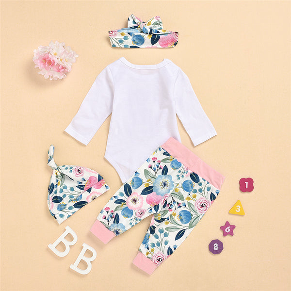 Baby Girls Letter Print Romper & Floral Pants Wholesale Baby Clothes Bulk