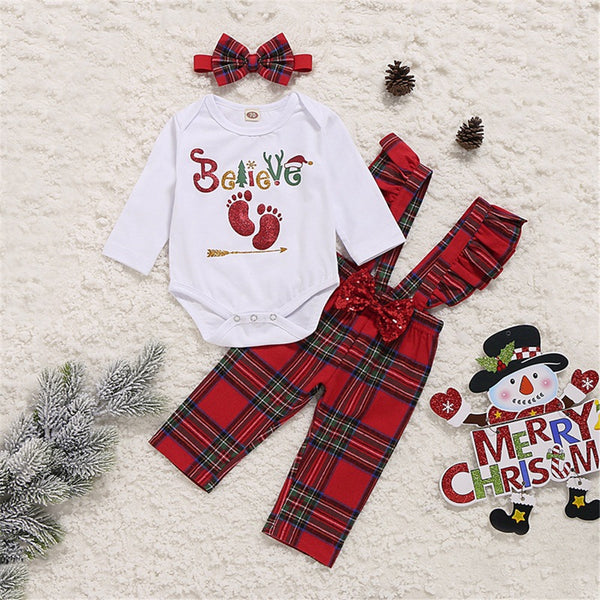 Baby Girls Letter Print Romper & Plaid Overalls & Headband Christmas Baby Clothes