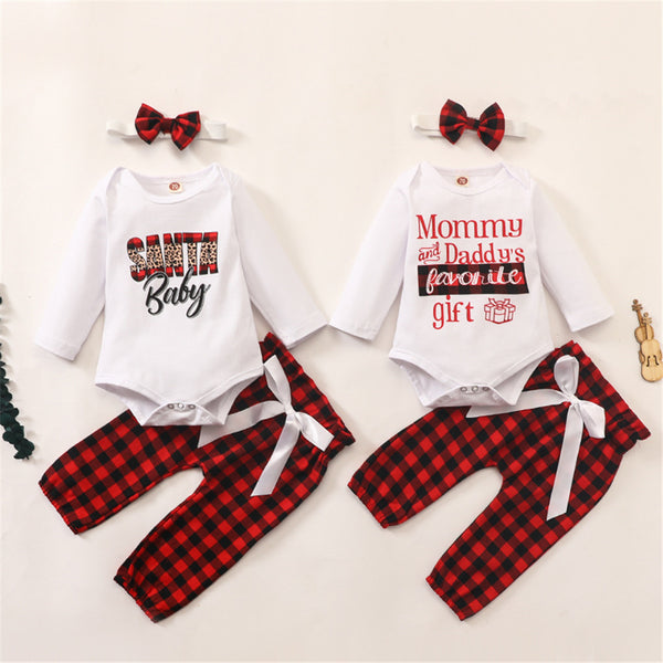 Baby Girls Letter Print Romper & Plaid Pants & Hairband Baby Wholesale