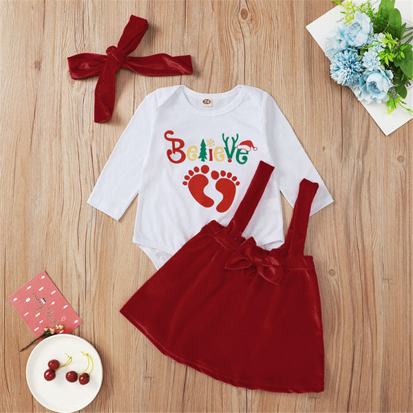 Baby Girl Letter Print Romper & Suspender Skirt &Headband Baby Wholesale