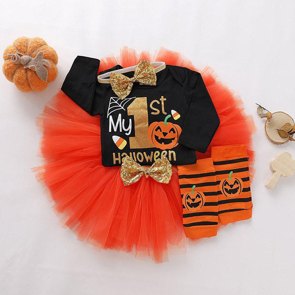 Baby Girls Letter Print Bodysuit & Mesh Skirt Halloween Sets