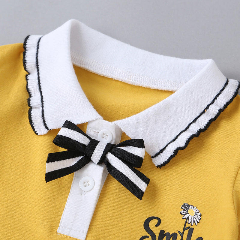Baby Letter Printed Bow Decor Solid Long Sleeve Dress