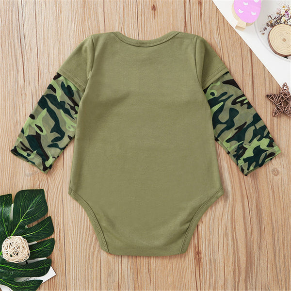 Baby Girls Letter Printed Camo Long Sleeve Romper Baby Clothes Warehouse