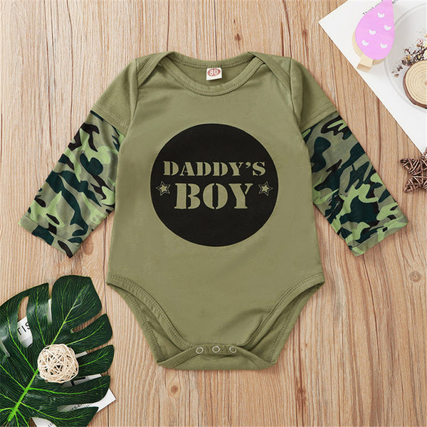 Baby Boys Letter Printed Camo Long Sleeve Romper Wholesale Baby