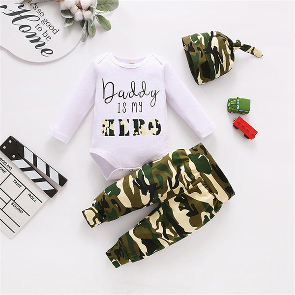 Baby Boys Letter Printed Camo Romper & Pants & Hat Baby Clothing Bulk