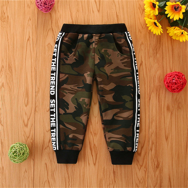 Unisex Letter Printed Camouflage Casual Pants Kids Wholesale Clothing