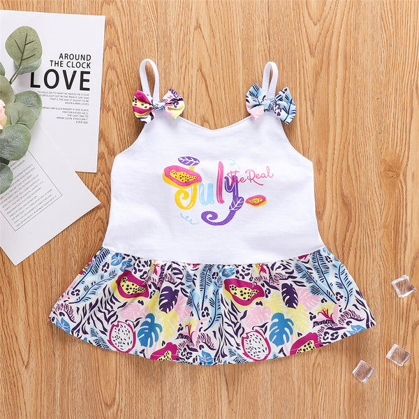 Girls Letter Printed Cartoon Bow Sling Dress wholesale childrens clothing
