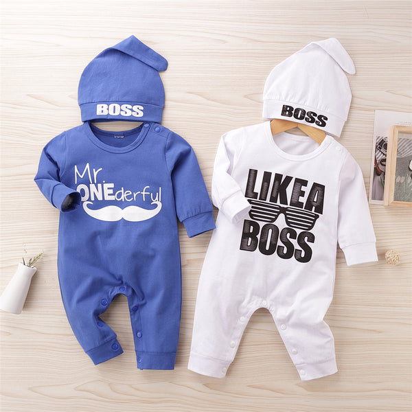 Baby Boys Letter Printed Casual Romper & Hat Wholesale Clothing Baby