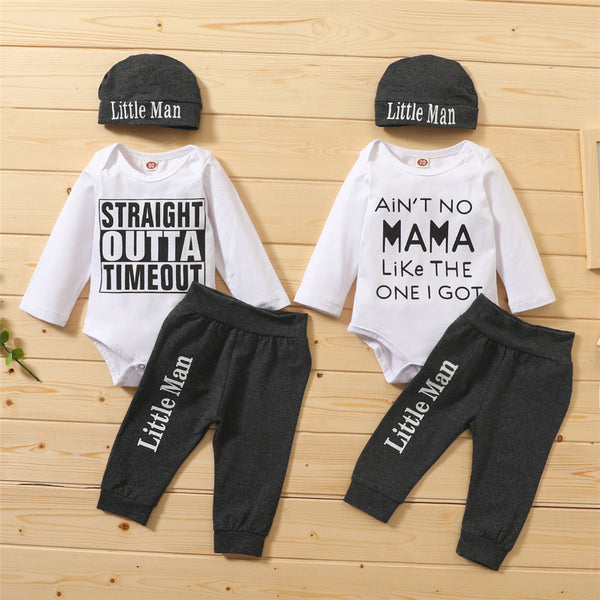 Baby Boys Letter Printed Casual Romper & Pants & Hat Baby Wholesale Clothes