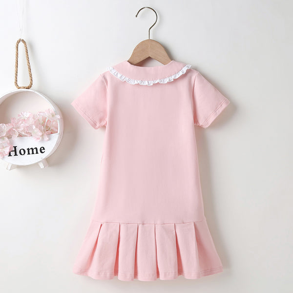 Girls Letter Printed Doll Collar Short Sleeve Dress Bulk Childrens Clothing Suppliers