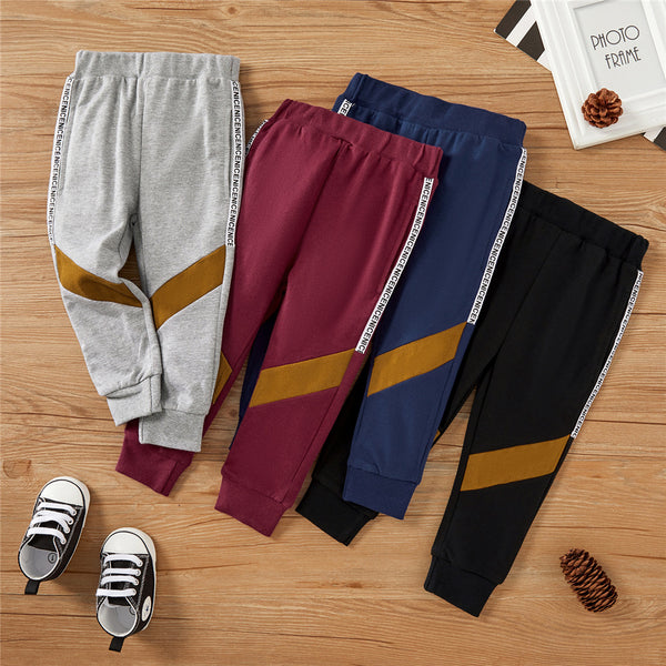Boys Letter Printed Elastic Waist Pants kids wholesale clothing