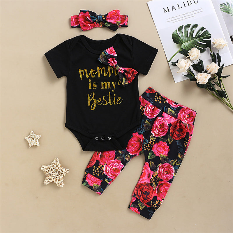 Baby Girls Letter Printed Floral Bow Short Sleeve Romper & Pants & Headband Baby Clothing Cheap Wholesale